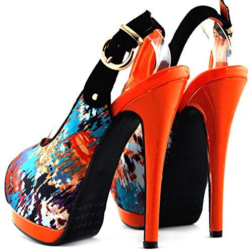 Mostrar historia Sexy Peep Toe doble plataforma Stiletto charol bombas zapatos del partido, LF80901 Naranja