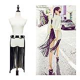 VITORIA'S GIFT Double buckles Hippie Boho Fringe Tassel Black Faux PU Long Belt Skirt,Medium