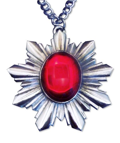 Renaissance Medallion with Red Cabochon Extra Large Pendant -