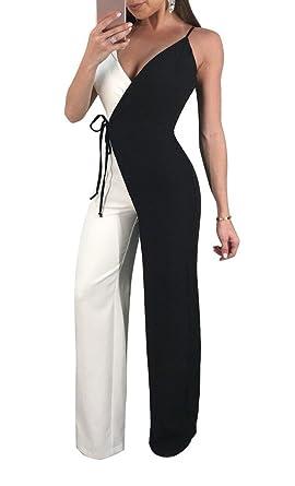 146bcbe11ed7 Miatty Women s Color Block Spaghetti Strap V Neck Wrap Jumpsuit with Tie  Waist Black S