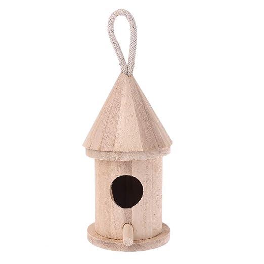 Brucelin - Jaula de pájaros colgante de madera natural para jardín ...