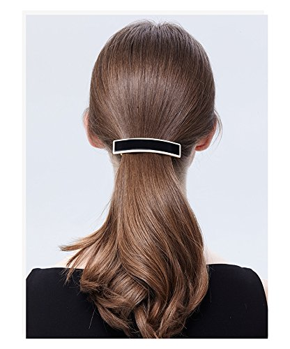 - usongs France Alexander acetate sheet minimalist lines black and white classic 8 cm spring clip hairpin hair accessories