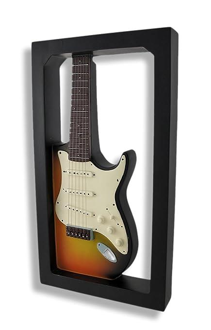 Puesta de sol guitarra eléctrica caja de sombra de pared placa