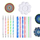 Muhuyi 14 Pieces Mandala Rock Dotting Tools Nail Art Painting Tools Set, Including 8 Sizes Flat Head Acrylic Dotting Rods, 5 Pieces Ball Stylus Dotting Pens, 1 Pieces Paint Tray