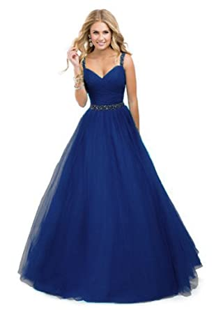 1d3ce5942e3 Amazon.com  Bridal Women s Long Beaded Prom Dresses 2019 Formal Evening  Gown Size 18 Royal Blue  Clothing