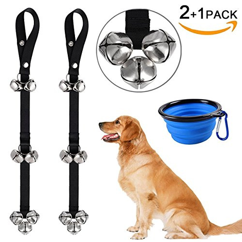 Dog Doorbells for Dog Training – CATOOP Adjustable Door Bell for Puppy with Collapsible Travel Pet Cat Dog Bowl