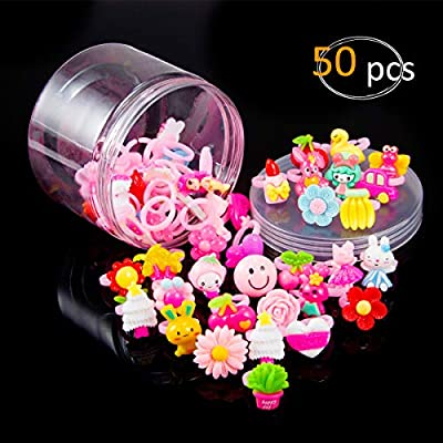 Biubee 50 Pieces Little Girl Jewel Rings- Opening Design Lovely Girls Pretend Play Dress Up Rings Random Shape and Color Cute Plastic Rings for Party Favor Ideal Gifts Choice: Toys & Games