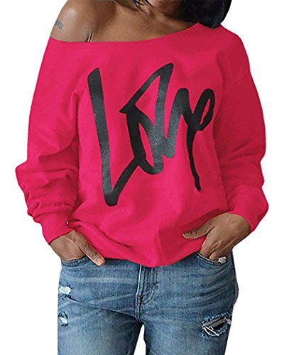 Womens Plus Size Off Shoulder Pullover Sweatshirt Love Wifey Letter Printed Tops Shirts (X-Large, Rose Red)
