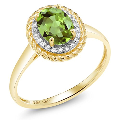 1.48 Ct Oval Green Peridot White Diamond 10K Yellow Gold Ring