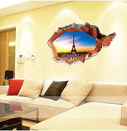 Amazon.com: Aiwall 8013 3D Art Eiffer Tower Wall Stickers DIY ...