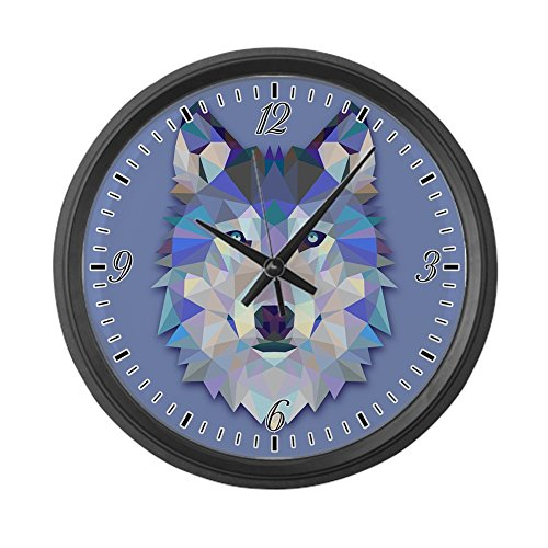 Large Wall Clock Triangle Wolf