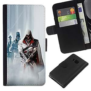 KLONGSHOP // Tirón de la caja Cartera de cuero con ranuras para tarjetas - Asesinos - HTC One M9 //