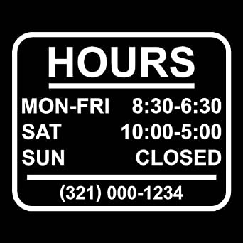 Amazoncom StickerLoaf Brand STORE HOURS NAME CUSTOM WINDOW DECAL - Window stickers for business hours