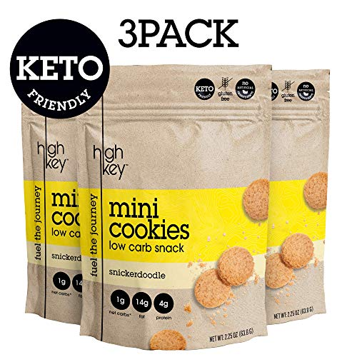 HighKey Snacks Keto Mini Cookies - Snickerdoodle, Pack of 3, 2.25oz Bags - Keto Friendly, Gluten Free, Low Carb, Healthy Snack - Sweet, Diet Friendly Dessert - Ketogenic Food with Natural Ingredients