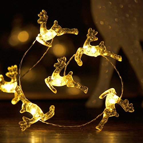 Impress Life Christmas Theme String Lights, Santa Claus Reindeer, 10 ft Copper Wire 50 LEDs with Remote & Timer for Christmas, Thanksgiving, Birthday, Wedding, Parties, House, Bedroom Decorations