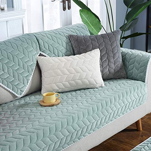 XY&YD Ultra-Soft Plush Sofa Towel Covers,Thicken Non-Slip Sofa Cushioning Couch Covers Comfortable Floor Mat Bay Window Pad Mattress Topper-Green 90x210cm(35x83inch) ()