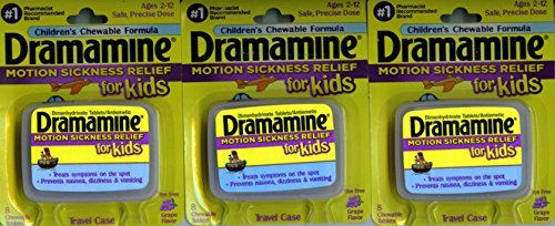 Dramamine Motion Sickness Relief for Kids, Grape Flavor, 8 Count (3 Pack)