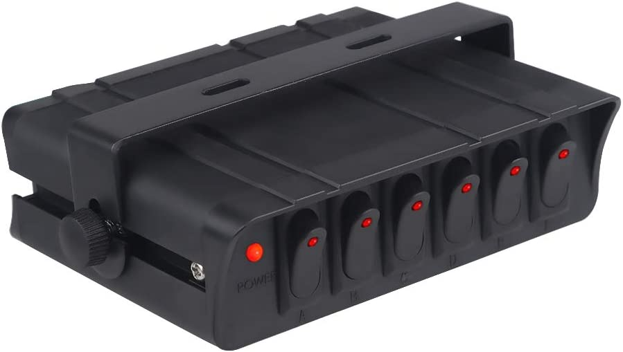 WATERWICH 6 Gang On/Off Rocker Switch Box 90Amp 12V SPST Rocker Switch Panel with LED Backlit for Ship Boat Yacht RV Camper Truck Car Vehicle (6-Gang): Automotive
