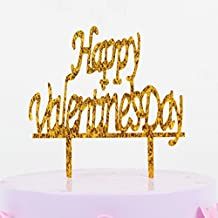 YotaWish Gold Happy Valentine's Day Wedding Cake Topper For Got Engaged Party