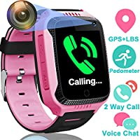 GPS Tracker Smart Watch for Kids - GPS Locator Pedometer Fitness Tracker Touch Camera Games Light Touch Anti Lost Alarm Clock Smart Watch Bracelet Compatible with iPhone Android (Pink) by GreaSmart