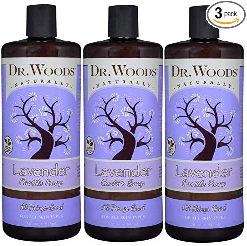Dr. Woods Pure Relaxing Lavender Liquid Castile Soap, 32 Ounce (Pack of 3)