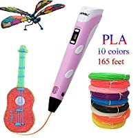 Christmas Gifts 3D Printing Drawing Printer Pen LCD Screen with 1.75mm 165 feet PLA Filament Refills for 3D Art Craft Models DIY Design Perfect Gift 3D Pen Pink