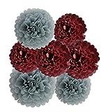 HEARTFEEL 12pcs Tissue Paper Pom Poms - Grey Burgundy Paper Flowers 8inch 10inch Tissue Paper Balls,Best Paper Pom Pom Decorations for Wedding Birthday Baby Shower Bachelorette Nursery Decor