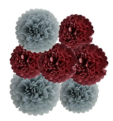 HEARTFEEL 12pcs Tissue Paper Pom Poms - Grey Burgundy Paper Flowers 8inch 10inch Tissue Paper Balls,Best Paper Pom Pom Decorations for Wedding Birthday Baby Shower Bachelorette Nursery Decor