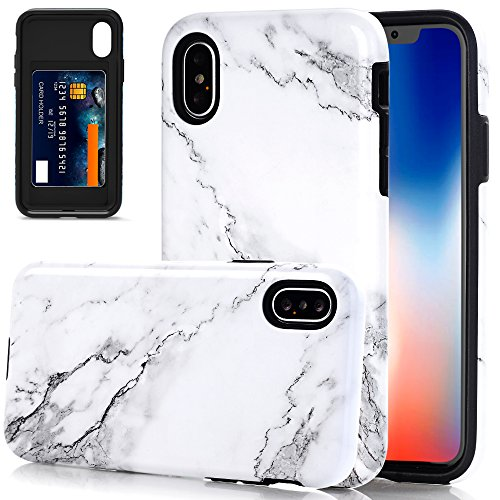 Protective Anti Cover Slip (iPhone X Case, iPhone X Marble Case, BAISRKE Heavy Duty Protection Card Slot Cover Hybrid Hard PC Flexible TPU Anti Slip Shockproof Protective Phone Case for iPhone X - White Marble)
