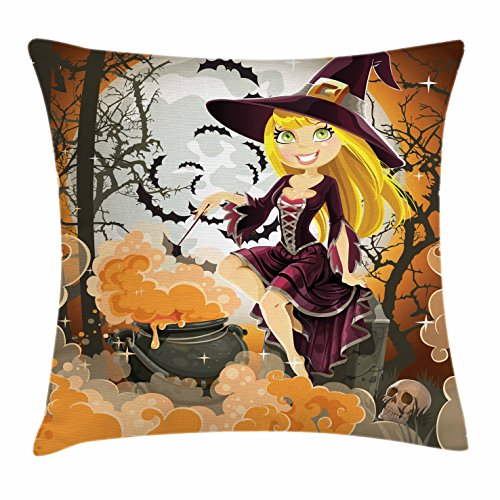 Lunarable Witch Throw Pillow Cushion Cover, Young Cartoon Girl with Potion in The Pot Sits in The Cemetery on Halloween Night, Decorative Square Accent Pillow Case, 24