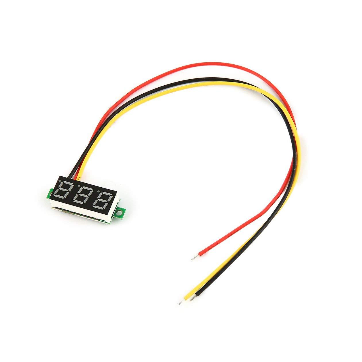 couleur: noir 0-100V 0.28in 3 fils LED panneau daffichage num/érique voltm/ètre testeur de tension /électrique voltm/ètre pour batterie Auto CarGreen