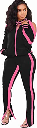 OLUOLIN Women's 2 Piece Outfits Velvet Tracksuit Zip Jackets and Sweatpants Jogging Suit