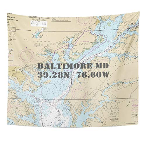 Semtomn Tapestry Artwork Wall Hanging Inner Nautical Latitude Longitude Baltimore Md Harbor County Maryland 60x80 Inches Home Decor Tapestries Mattress Tablecloth Curtain Print
