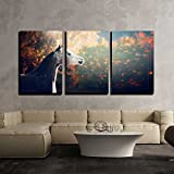 wall26 - 3 Piece Canvas Wall Art - Beautiful Arabian Horse with Whitehead on Wonderful Nature Background - Modern Home Decor Stretched and Framed Ready to Hang - 16''x24''x3 Panels