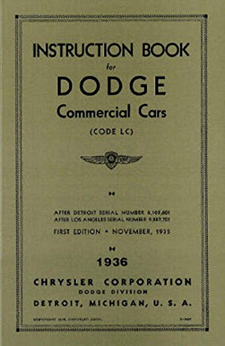 1936 Dodge half ton Truck Owner Manual Pickup Panel Screenside Canopy Suburban