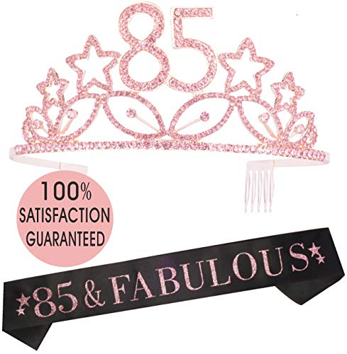 MEANT2TOBE 85th Birthday Tiara and Sash, Happy 85th Birthday Party Supplies, 85th Black Glitter Satin Sash and Crystal Tiara Birthday Crown for 85th Birthday Party Supplies and Decorations(Pink) -