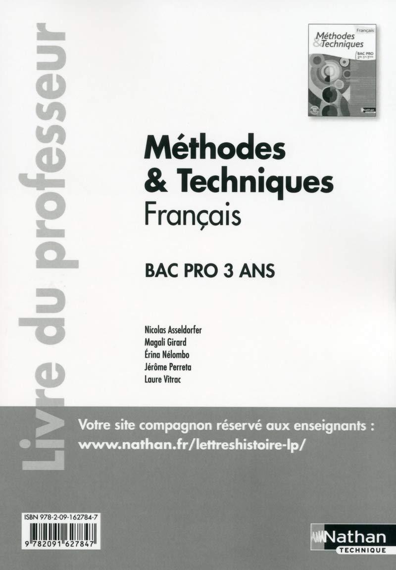 Methodes Techniques Francais Bac Pro Livre Du Professeur