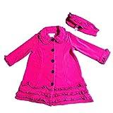 Bonnie Jean Little Girls Ruffled Fleece Coat and Hat Set, Fuschia, 2T