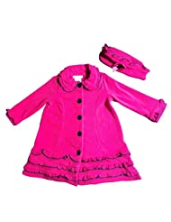 Bonnie Jean Girls Baby Ruffled Fleece Coat and Hat Set, Fuschia