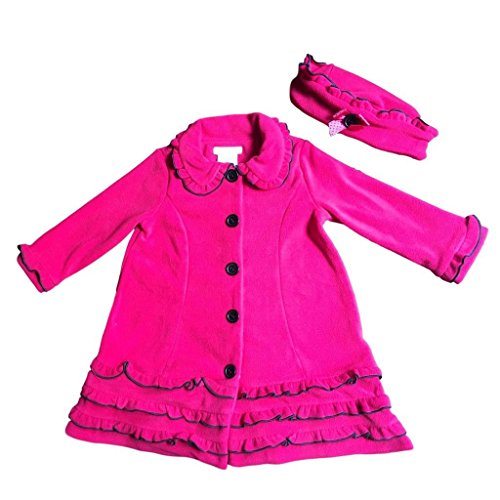 Bonnie Jean Baby Girls Ruffled Fleece Coat and Hat Set, Fuschia,9M (Bonnie Jean Coat)