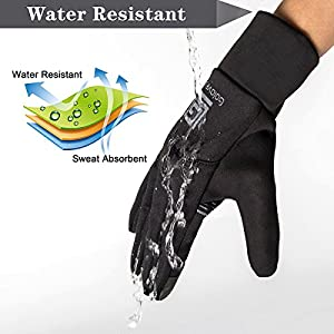 Opard Winter Gloves Phone Touch Screen Waterproof Warm Inner Thermal Fleece for Men Women Work Sports Outdoor Motorcycle Cycling (Black)