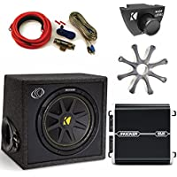 Kicker 12 Loaded, Ported, Comp Subwoofer with protective Grille, DXA2501 Amp, Amp Kit, and Bass Knob.