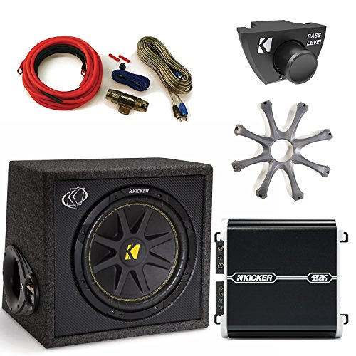 "Kicker 12"" Loaded, Ported, Comp Subwoofer with protective Grille, DXA2501 Amp, Amp Kit, and Bass Knob."