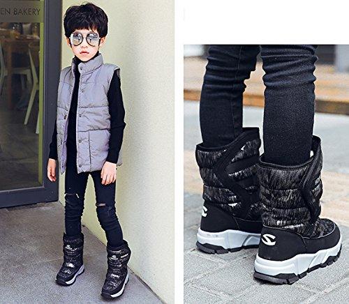 Stivali Boots All'aria Invernali Piatto Stivaletti Nero Aperta Ragazzo Neve Lovejin Impermeabile Ragazza Scarpe Caldo UPwIqxzxE
