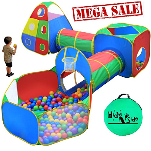 Hide N Side 5pc Kids Ball Pit Tents and Tunnels, Toddler Jungle Gym Play Tent with Play Crawl Tunnel Toy , for Boys, Babies, Infants and Children, w/ Basketball Hoop, Indoor & Outdoor