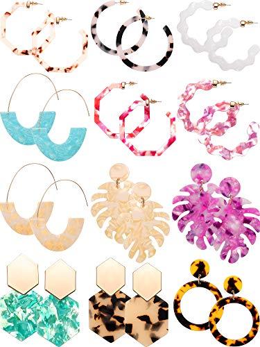 12 Pairs Acrylic Hoop Earrings Tortoise Earrings Mottled Statement Earrings Polygonal Drop Earrings for Women Girls (Style 4)