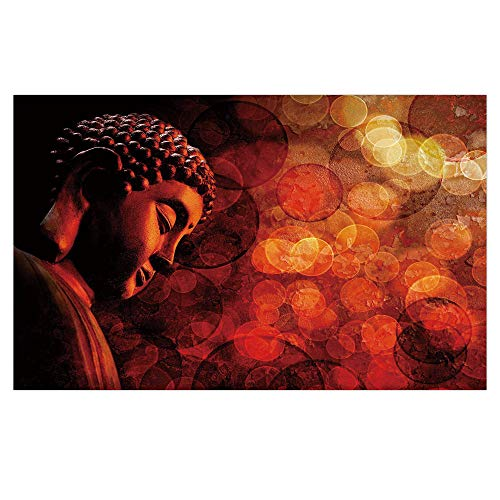 iPrint 3D Floor/Wall Sticker Removable,Zen,Eastern Religious Figure Abstract Backdrop Asian Ethnicity Meditation Peace Decorative,Burgundy Red Orange,for Living Room Bathroom Decoration,35.4x23.6