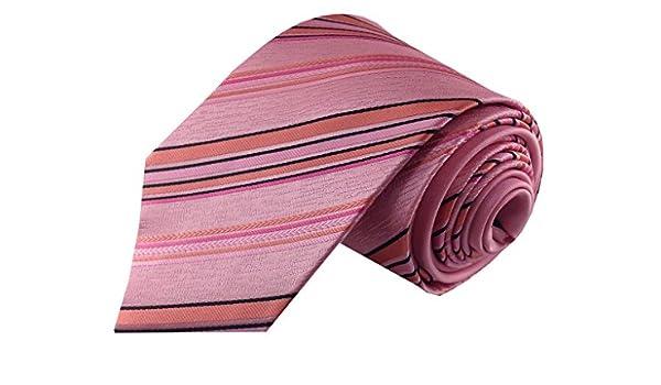 Rosa Coral y negro rayas con contraste de color rosa lazo de los ...