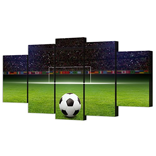 VVOVV Wall Decor - 5 Piece Canvas Art Soccer Ball on Green Huge Football Field With Soccer Gate Picture Poster Sports Wall Decor for Kids Bedroom