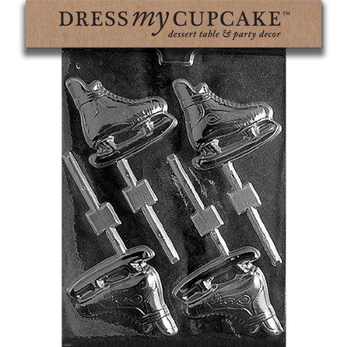 Dress My Cupcake Chocolate Candy Mold, Ice Skates Lollipop (Ice Skate Cake Mold)